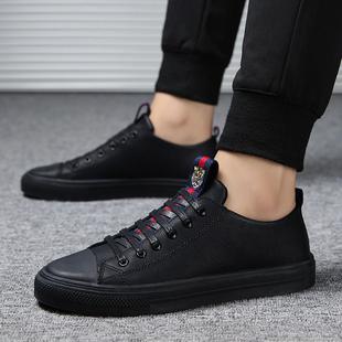 男鞋春季潮鞋2019新款休闲鞋皮鞋男韩版潮流百搭板鞋男士黑色鞋子