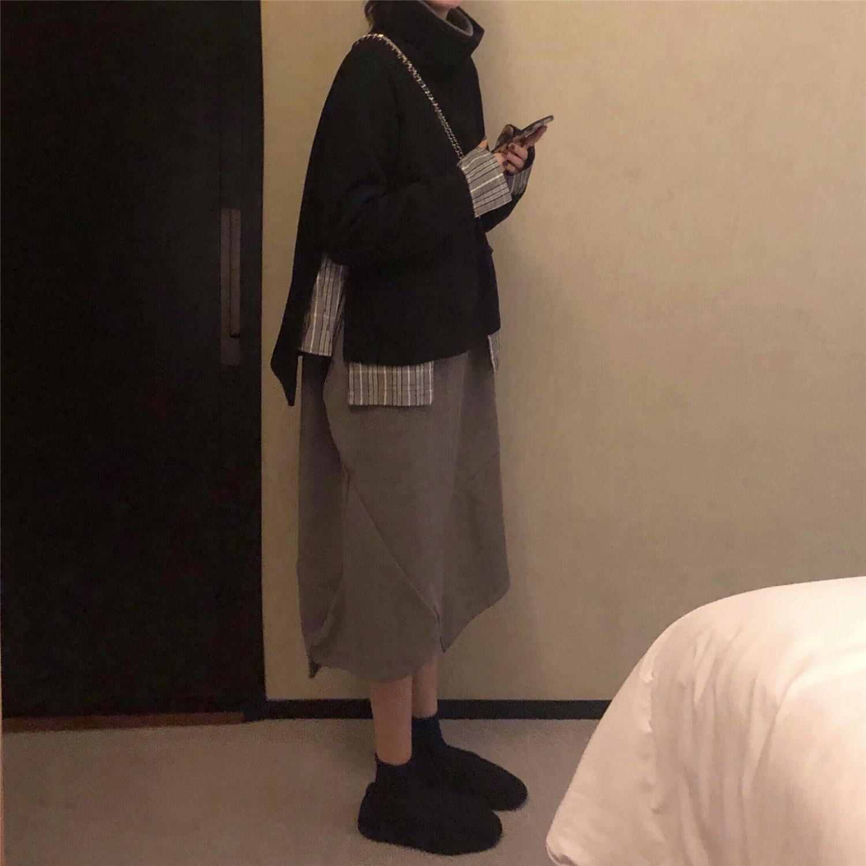 秋冬时尚chic韩版慵懒风高领拼接呢子外套+宽松打底中长款连衣裙
