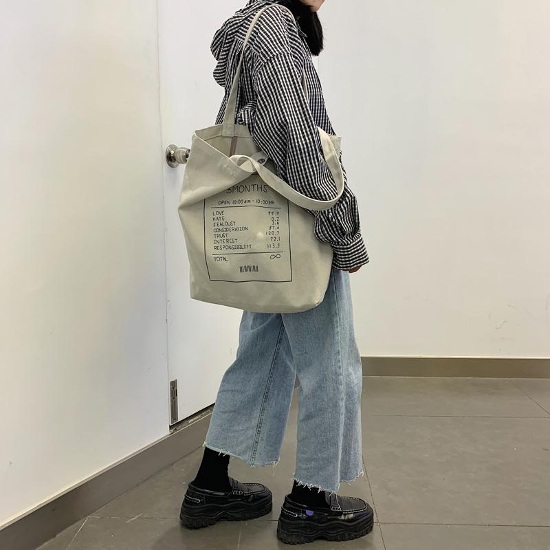 帆布包女单肩ins斜挎两用学生韩国大容量百搭帆布袋包慵懒风手提
