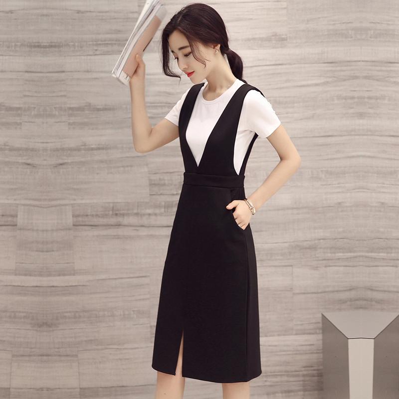 2018夏季新款韩版潮流时尚套装简约圆领黑白条纹两件套裙装女