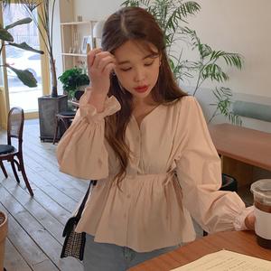 新款韩版宽松百搭V领法式束腰衬衫女chic风上衣女,女装衬衫,妮蕾迪2号店