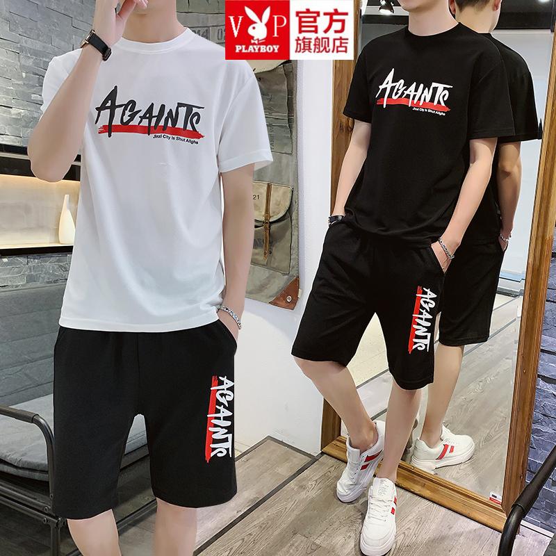 花花公子贵宾两件套跑步男士短袖T恤夏装潮流休闲运动套装夏季潮