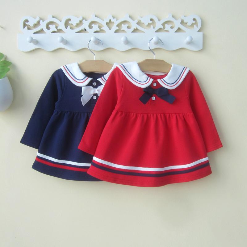 女童秋装0-1-2-3岁女宝宝裙子婴儿长袖连衣裙洋气春秋公主海军风4