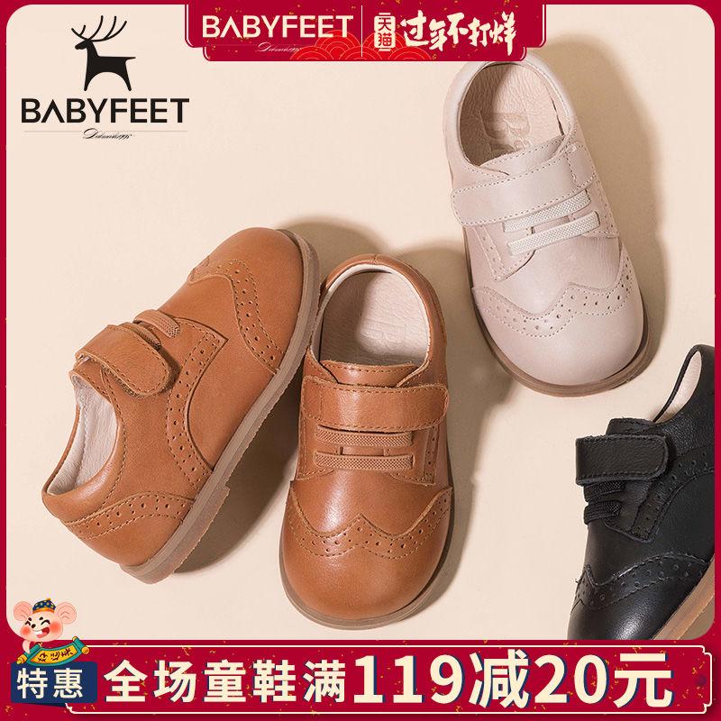 [¥109]babyfeet春秋宝宝学步鞋 真皮男童单鞋 儿童皮鞋软底透气童鞋子潮