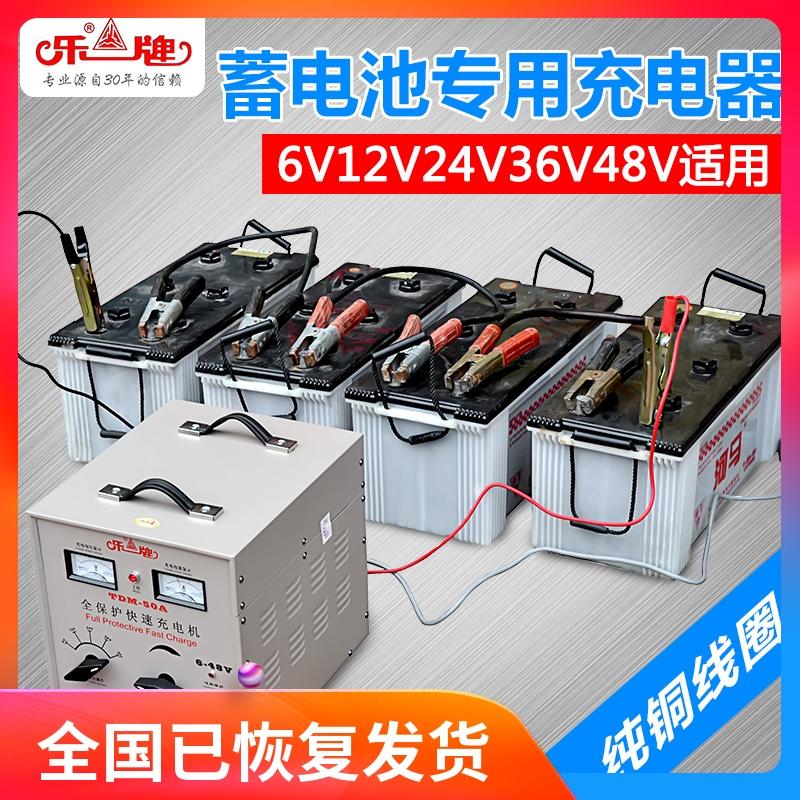 乐牌12v汽车电瓶充电器摩托车蓄电池充电器纯铜大功率24v伏通用