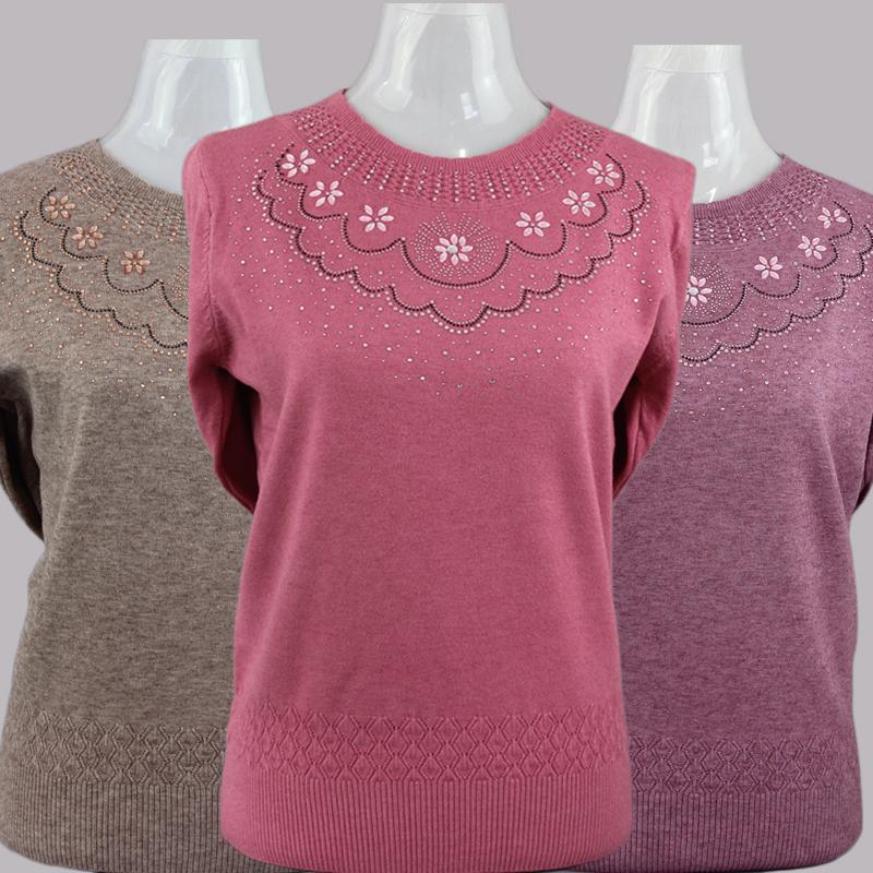 春秋新款中老年女装毛线衣中年妈妈装套头圆领纯色薄款针织衫上衣