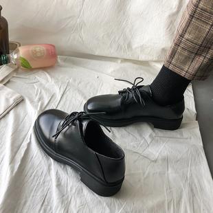 2019新款秋冬季小皮鞋女英伦风复古日系学生百搭平底单鞋ins潮鞋