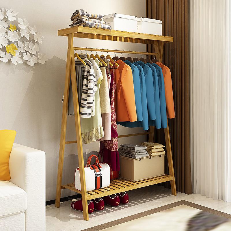 兴和家缘 挂衣服的架子落地架多功能置物架组装实木衣架落地卧室