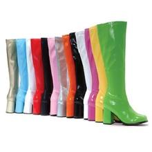 长靴2um020欧美s9色高跟粗跟时尚个性靓丽女士大码白色