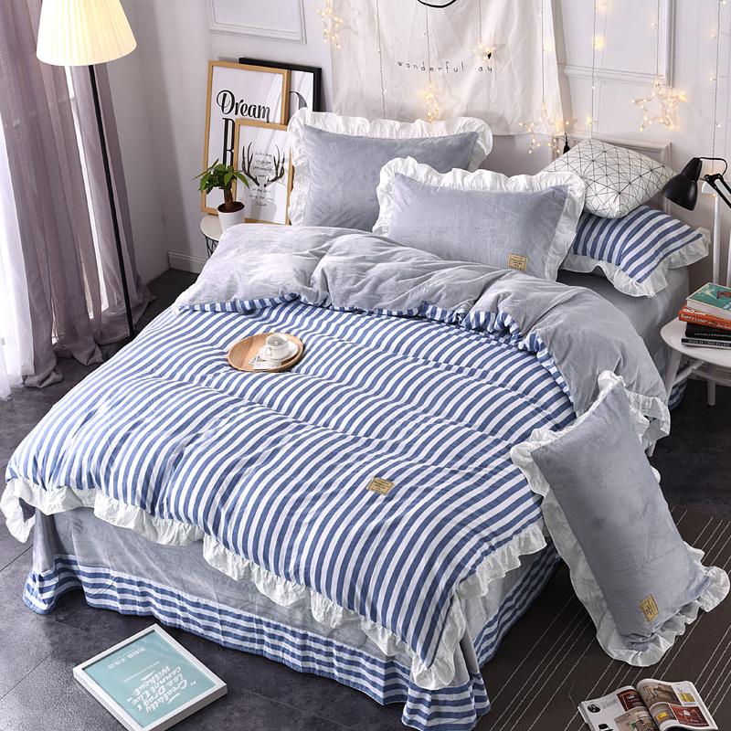 加厚珊瑚绒水洗棉全棉四件套公主风纯棉法兰莱绒被套1.8床上用品