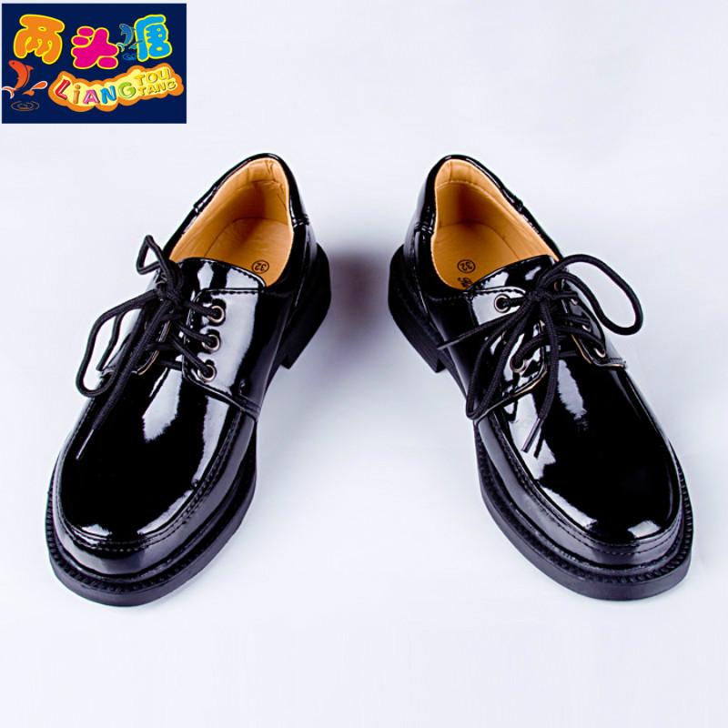 儿童皮鞋男童黑色软皮亮光面中大童男学生表演秋新款系带软演出鞋