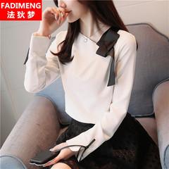 2018秋装新款韩版时尚斜领系带长袖雪纺衬衫女百搭修身打底上衣潮