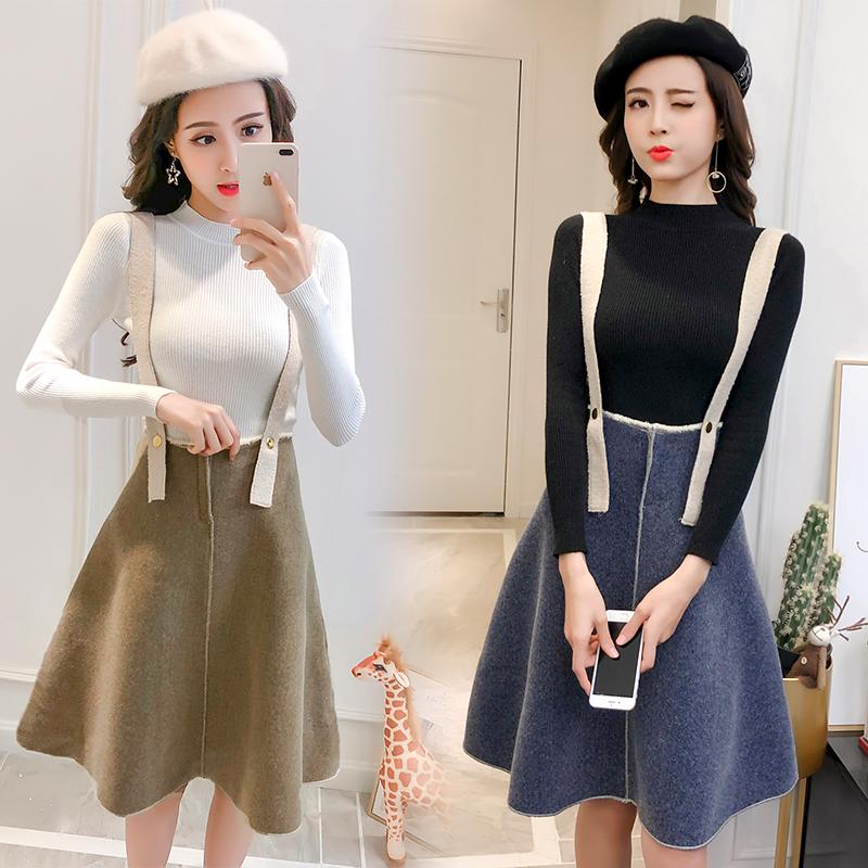 针织连衣裙女秋冬季2018新款时尚背带裙子两件套装毛呢过膝长裙