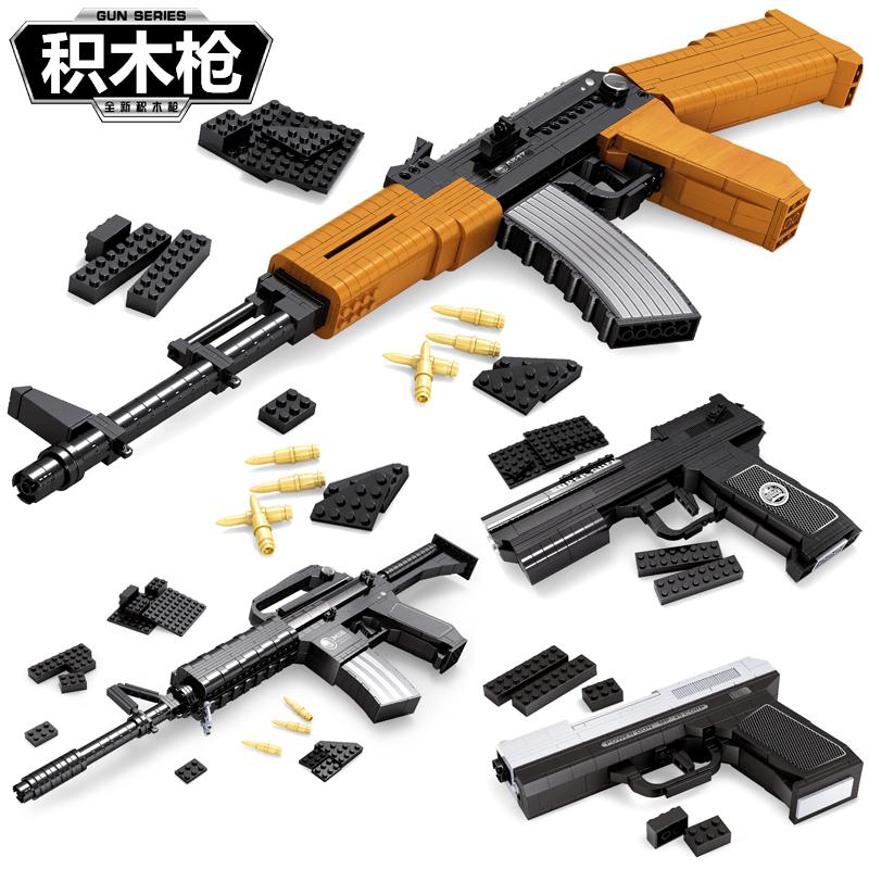 兼容乐高积木枪拼装武器儿童组装男孩子军事6拼插7益智玩具10岁12