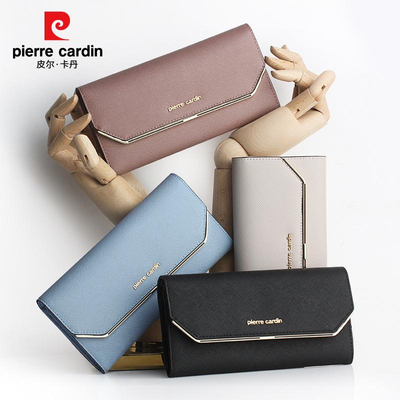 皮尔卡丹女士长款钱包真皮钱夹时尚韩版手包女马卡龙糖果色手拿包