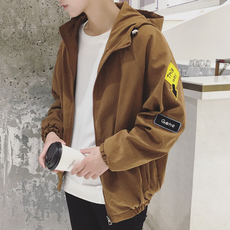 2018春季春秋新款潮流宽松男生韩版学生连帽帅气薄款潮男外套夹克