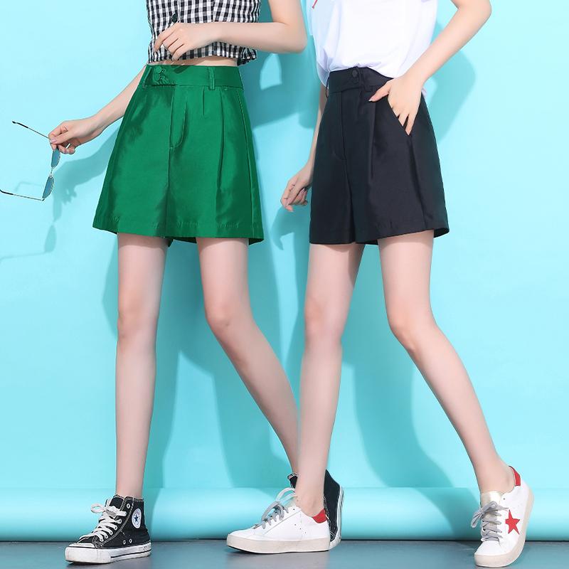 2019夏季新款阔腿短裤女宽松高腰直筒薄款大码绿色休闲五分裤欧货