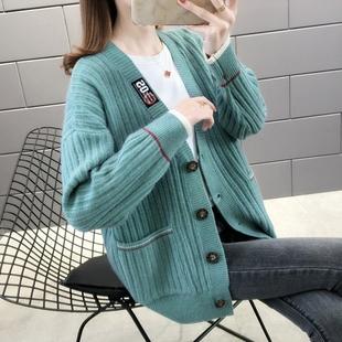 2020秋新款韩版开衫外套女针织衫慵懒风宽松洋气短款女装毛衣图片