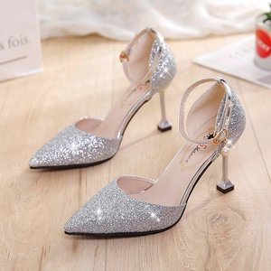 5-7 cm with fairy skirt shoes women's shoes Baotou stiletto high-heeled host hollow slippers Korean evening dress