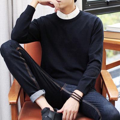 秋季男士毛衣长袖T恤上衣线衣秋衣韩版修身潮流卫衣针织衫男圆领