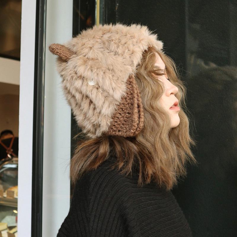 甜美可爱猫耳朵毛线帽韩版兔毛皮草帽子女日系秋冬季针织雷锋帽潮