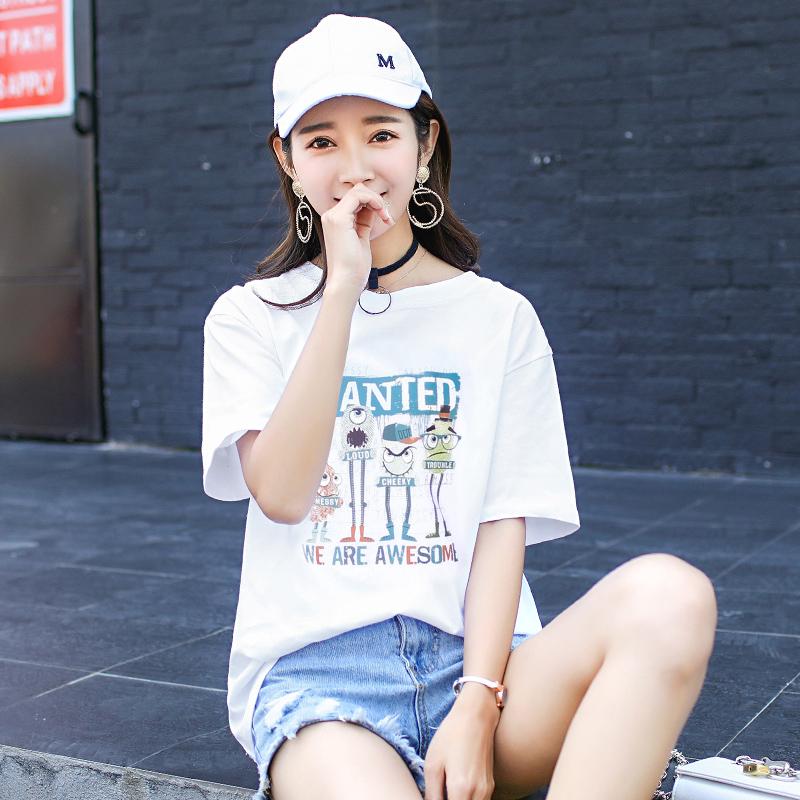 【2】2017夏季新款纯棉t恤女短袖圆领宽松显瘦学生女上衣服