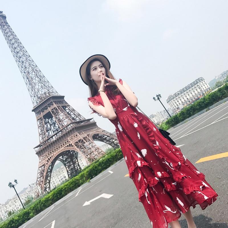 红色连衣裙女装2019新款潮长款气质收腰显瘦法式无袖茶歇裙子夏季