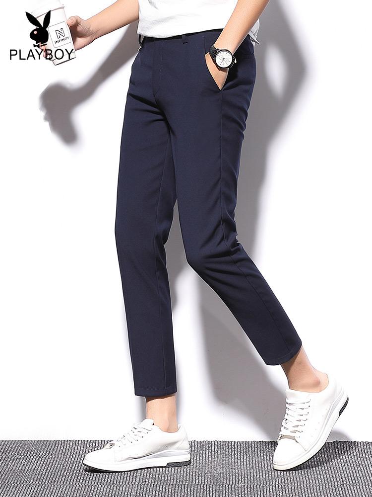 花花公子九分裤男士休闲裤夏季薄款直筒韩版潮流修身小脚冰丝西裤