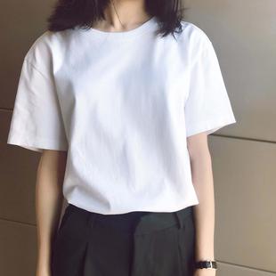 纯棉短袖t恤女装ins潮2020年夏季新款宽松韩版纯白色半截袖上衣服图片