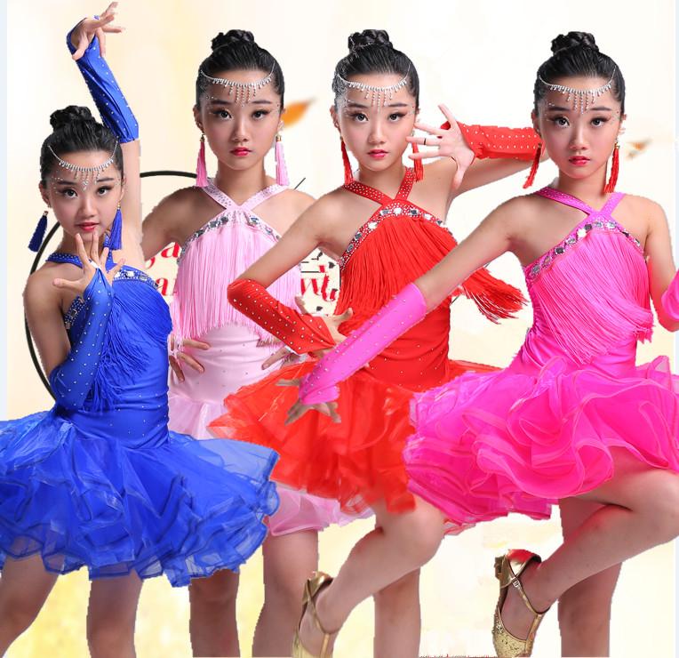 新款儿童拉丁舞裙女童流苏亮钻舞蹈比赛服幼儿拉丁演出服考级服装