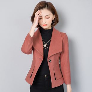 纤雯2017秋冬新品羊毛呢子外套女长袖韩版修身显瘦大翻领短款上衣