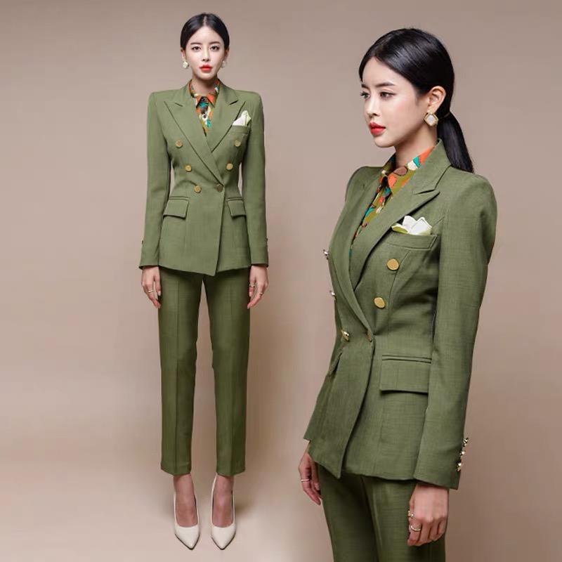 现货职业套装女秋冬2019新款韩版OL洋气英伦风西服外套时尚两-卡希格服饰-