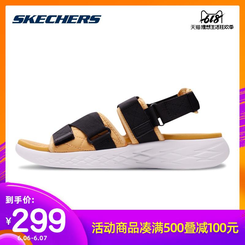 Skechers斯凯奇男鞋夏季新品魔术贴拖鞋凉鞋 轻质舒适沙滩鞋55367