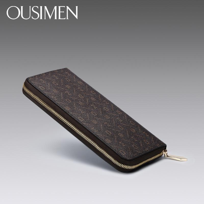 欧思曼女士钱包长款2017新款拉链大容量手拿包2018韩版男钱夹女潮