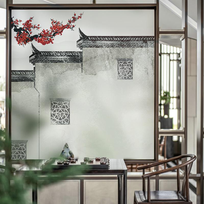 粉墙黛瓦古风创意玻璃贴膜中国风墙面装饰透光不透明中式玻璃贴纸