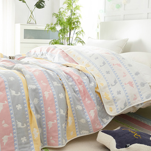 Cotton six-layer gauze towel quilt summer double quilt single double air-conditioning quilt child baby cotton nap blanket