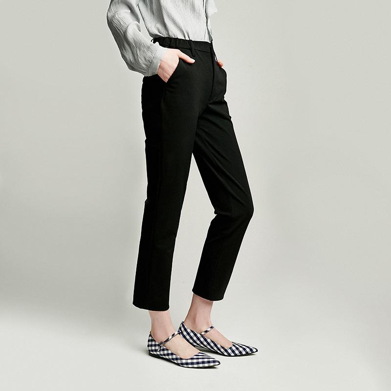 日本进口4面弹显瘦小黑裤小脚九分裤女吸烟裤W11230