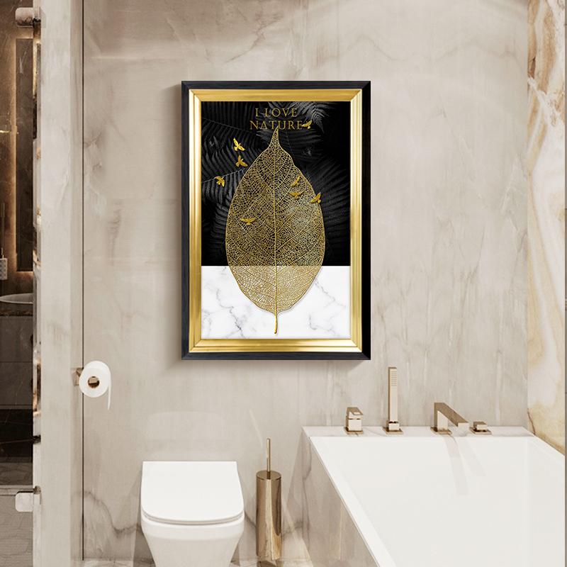轻奢美式防水装饰画 大气卫生间洗手台壁画厕所马桶上方简美挂画