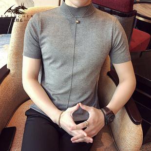 短袖男T半高领韩版修身男士半袖针织紧身体恤打底衫潮流纯色毛衣