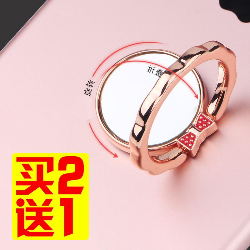 锌合金手机指环支架蝴蝶花镜面指环手机通用懒人黏贴式支架