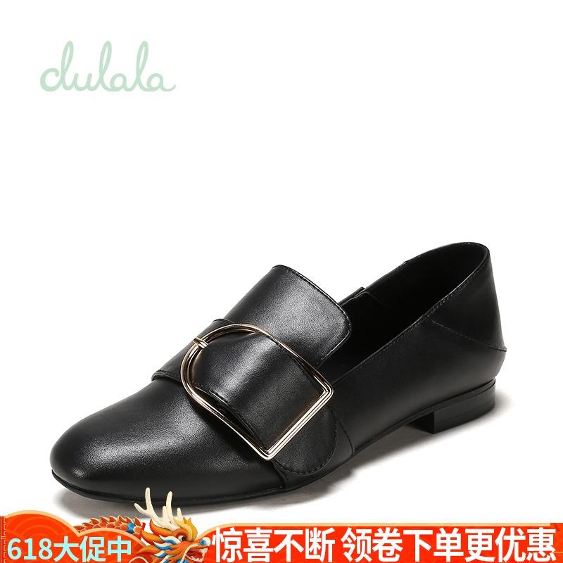 Daphne/达芙妮杜拉拉秋新款方头金属扣低跟单鞋女1717404089