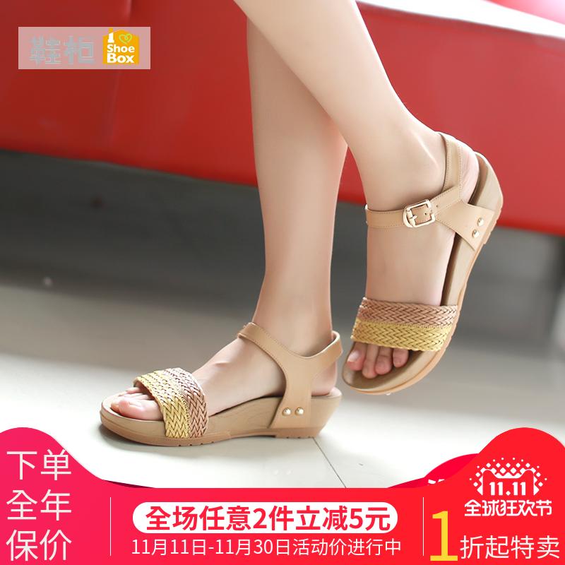达芙妮旗下SHOEBOX/鞋柜拼色坡跟女凉鞋中跟罗马鞋1115303203