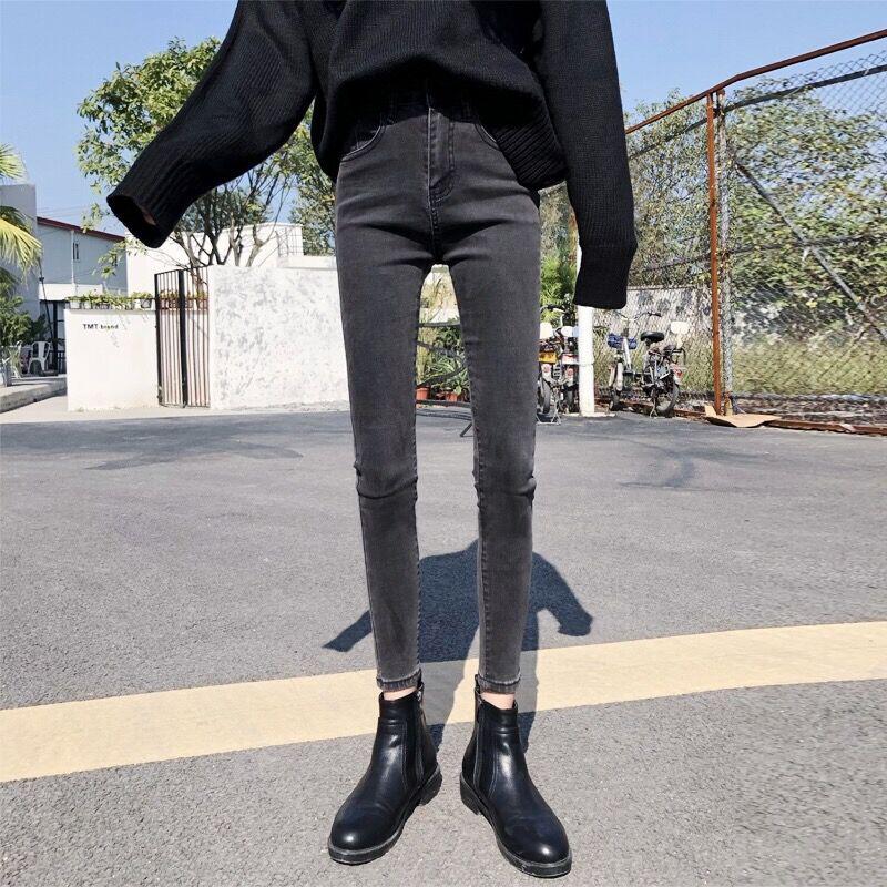 秋季泫雅烟灰色高腰牛仔裤女九分紧身小脚韩版修身显瘦显高长裤子