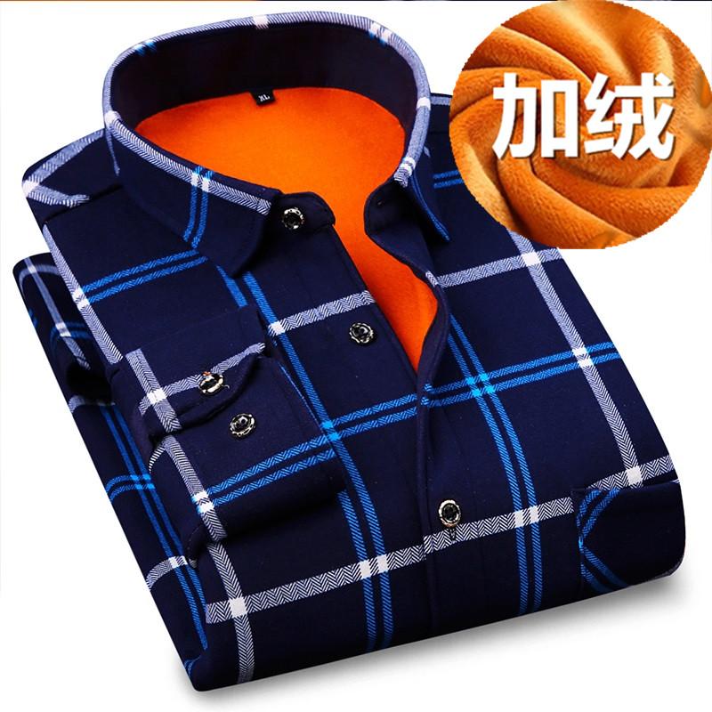 秋冬季中年男士保暖衬衫加绒加厚毛中老年人男装爸爸老人长袖衣服