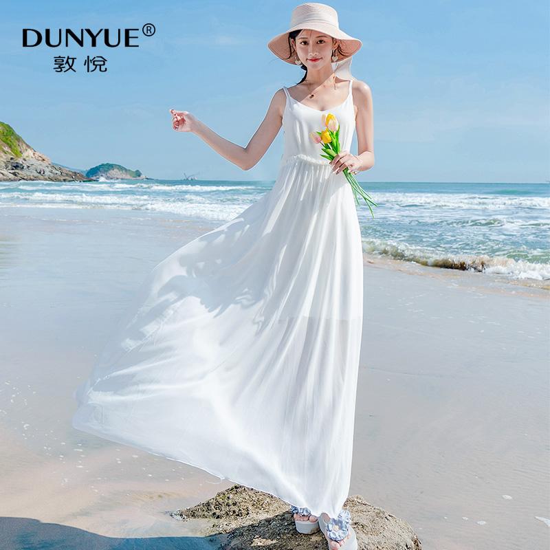 吊带白色雪纺连衣裙夏显瘦气质小个子长裙海边度假沙滩裙泰国超仙