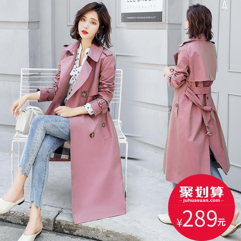 明星同款风衣女中长款变色龙高端大气质韩版2018新款秋季过膝外套