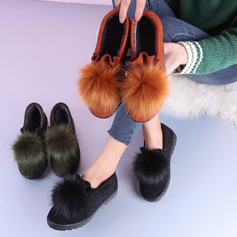 亿魅佳冬季瓢鞋女士毛毛鞋秋冬款外穿2017新款一脚蹬加绒豆豆鞋