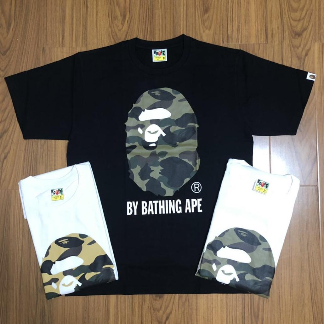 【折扣现货】任先生潮流bape短袖T恤男款经典黄绿迷彩大猿人头Tee