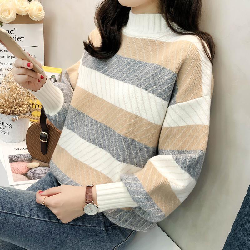 2018新款秋冬季条纹长袖毛衣女韩版宽松半高领小清新针织打底上衣