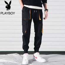 Playboy overalls Men's Tide Tie Tie Nine Points Casual Pants Summer Korean Tide Thin Sports Pants